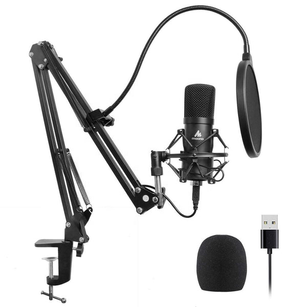 MAONO USB Podcasting Microphone Kit, 16mm mikrofon, arm med fäste, filter, svart