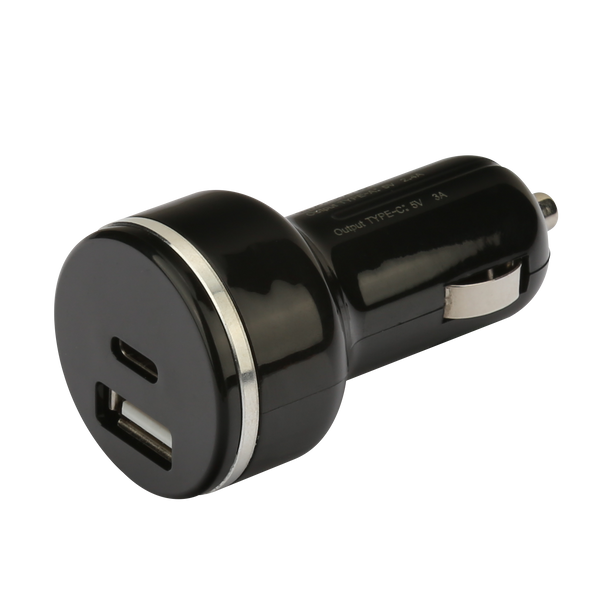 NÖRDIC snabb billaddare USB C Power Delivery 18W och USB A Quick Charger QC3.0 18WUSB Car charger Type C 18W+QC3.0 18W
