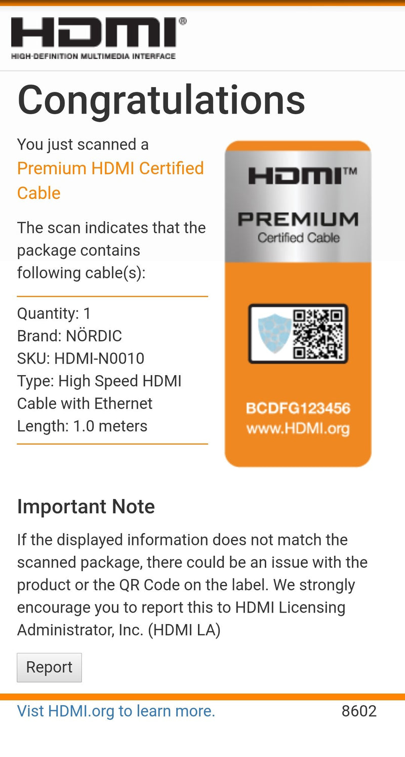 NÖRDIC CERTIFIED CABLES Premium High Speed HDMI with Ethernet 1m 18Gbps 4K 60Hz UHD HDCP 2.2 HDR Dolby® Vision ARC  HDMI2.0