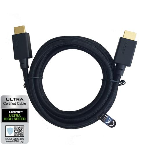 NÖRDIC CERTIFIED CABLES Certifierad 3m HDMI Ultra High Speed 8K 60Hz 4K 120Hz 48Gbps Dynamic HDR eARC Game Mode VRR Dolby ATMOS nylonflätad kabel guldpläterade kontakter HDMI 2.1