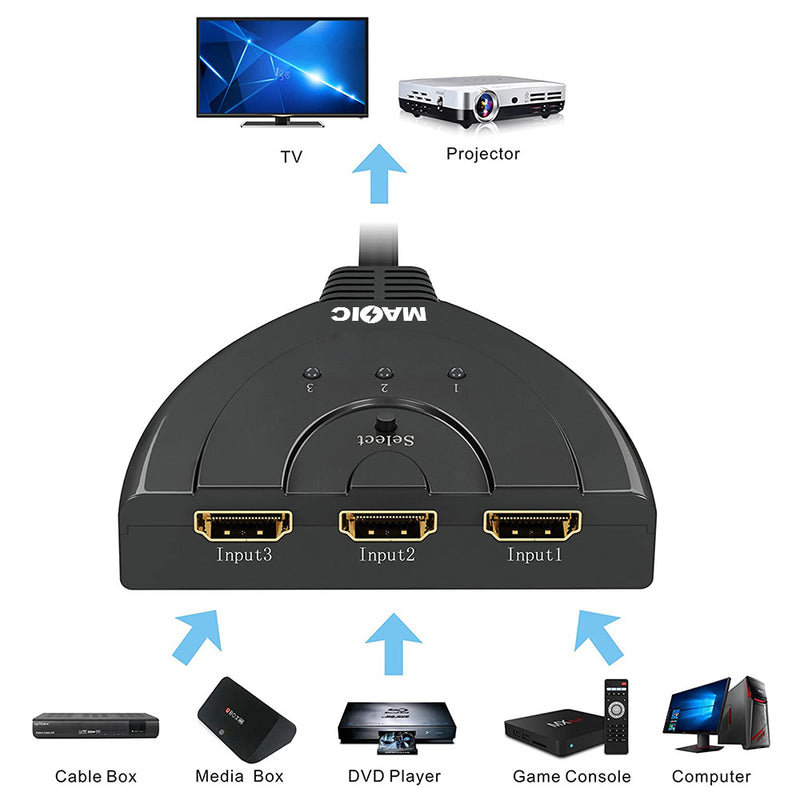 NÖRDIC 4K HDMI Pigtail Switch 3 till 1 UHD HDCP 3D Dolby DTS