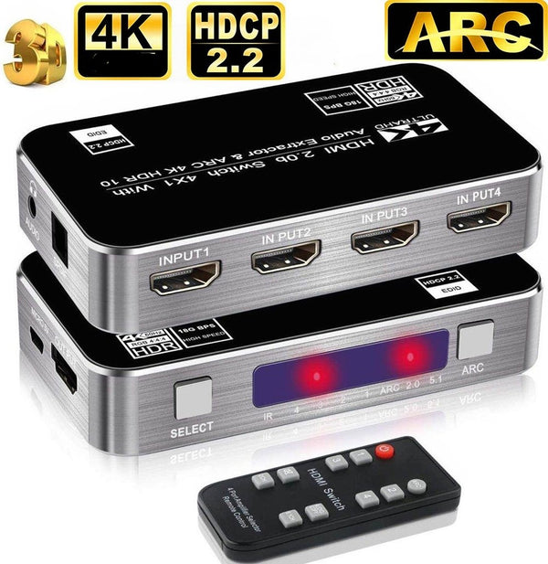 NÖRDIC HDMI Switch 4 till 1 med Audio Extractor och ARC 4Kx2K i 30Hz MHL Dolby True SPDIF LR Stereo 3D