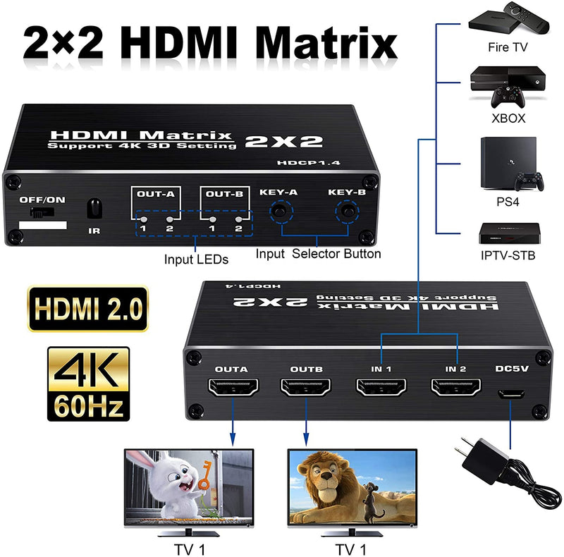 NÖRDIC Matrix HDMI switch 2 till 2 HDMI 2.0 4K 60Hz HDCP1.4 3D YUV 4:2:0