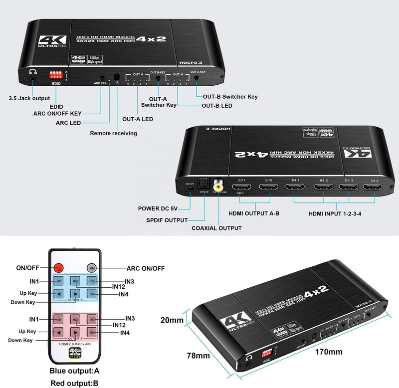 NÖRDIC HDMI matrix Switch 4 till 2 med Audio Extractor och ARC, 4Kx2K i 60Hz, YUV 4:4:4 18Gbps HDCP 2.2, 5.1 Surround, Metal