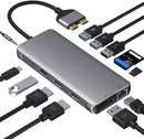 Macbook Pro Docking station 1 till 12 portar dubbla HDMI 1xDP 1x USB C PD 87W 1xRJ45 Giga 4xUSB A 2xSD/TF 1x audio