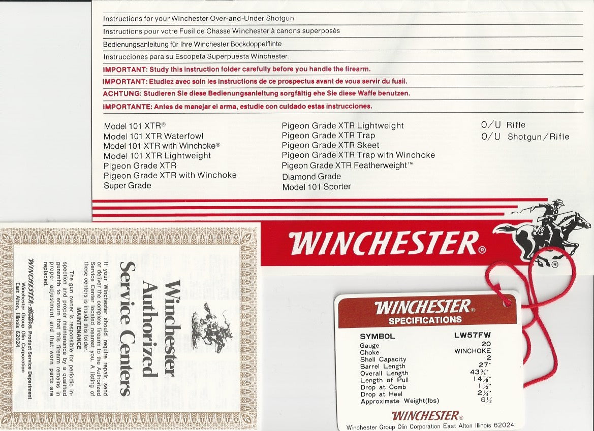 Winchester 101 Instruction Manual and Tags