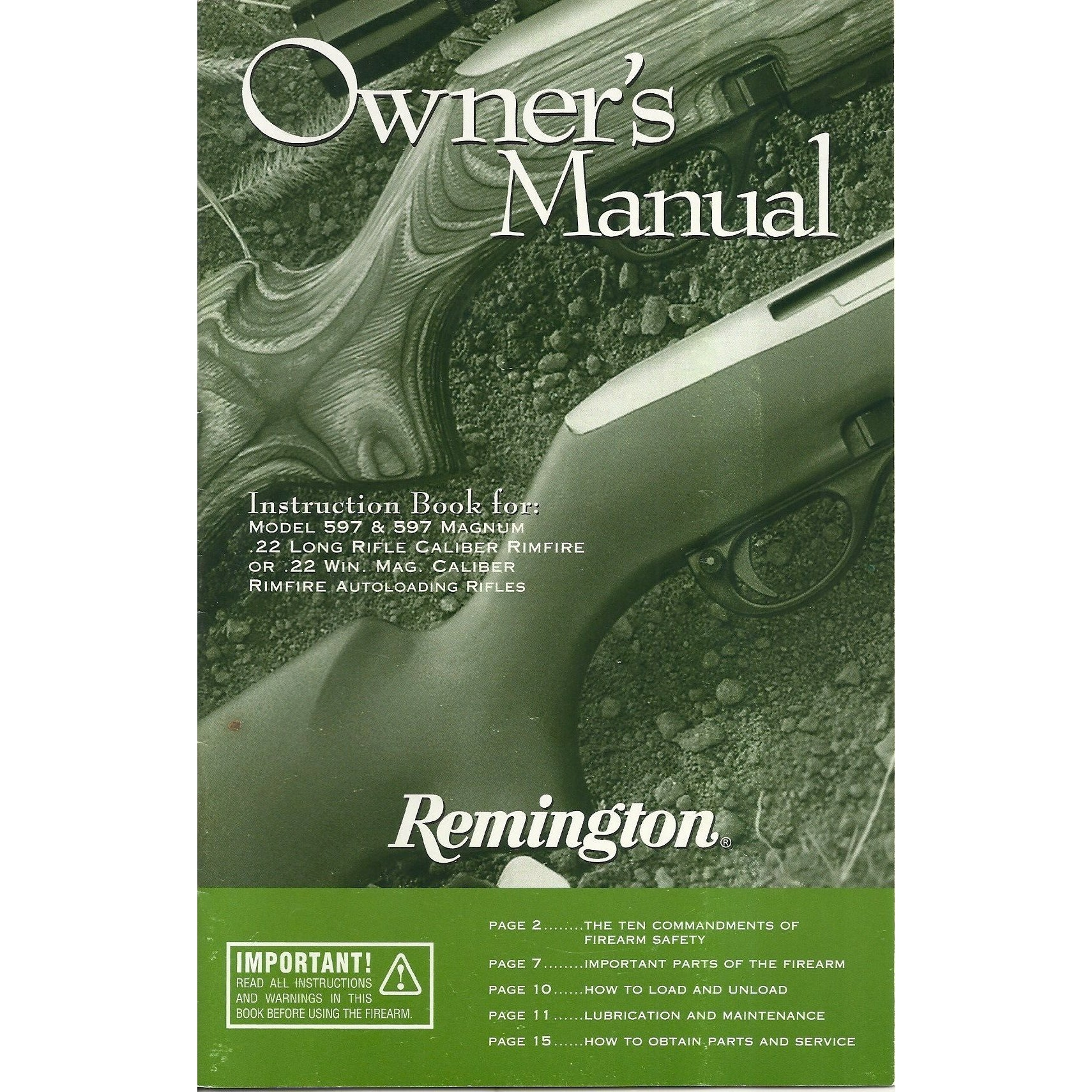 Remington 597 Semi-Auto 22 Mag / 22 LR Manual,Firearm Manuals- Canada Brass