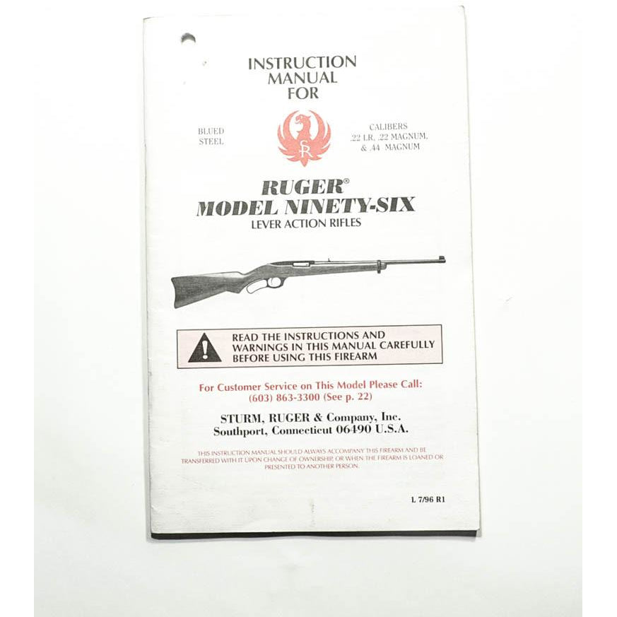 Ruger Model Ninety Six Instruction Manual,Firearm Manuals- Canada Brass