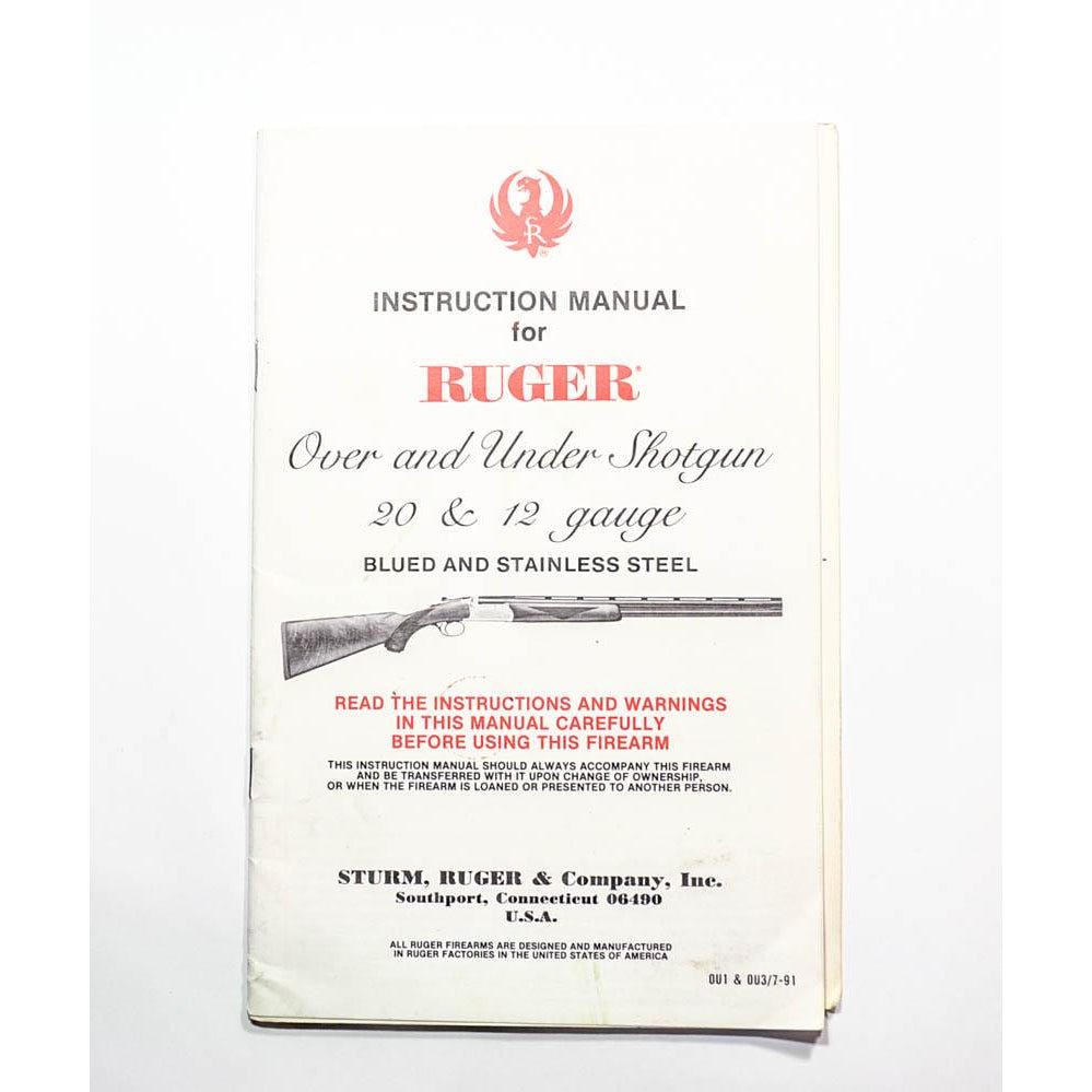 Ruger Over and Under Instruction Manual,Firearm Manuals- Canada Brass