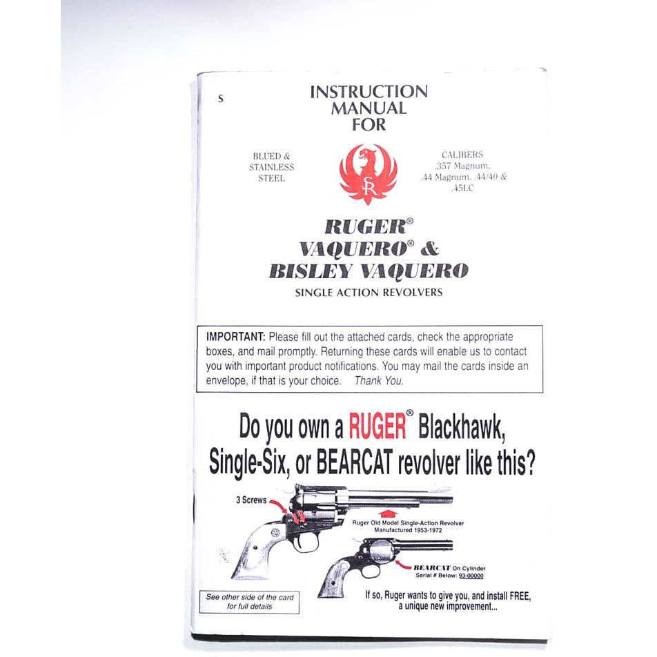 Ruger Vaquero Instruction Manual,Firearm Manuals- Canada Brass