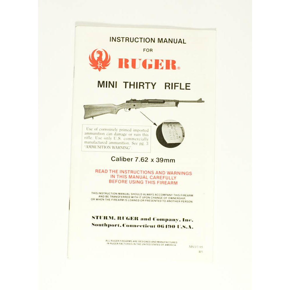 Ruger Mini Thirty Rifle Instruction Manual,Firearm Manuals- Canada Brass