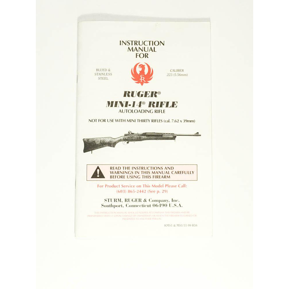 Ruger Mini 14 Rifle Instruction Manual,Firearm Manuals- Canada Brass