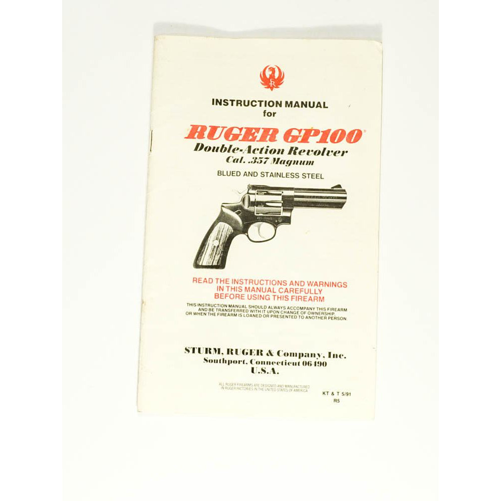 Ruger GP100 Revolver Instruction Manual,Firearm Manuals- Canada Brass
