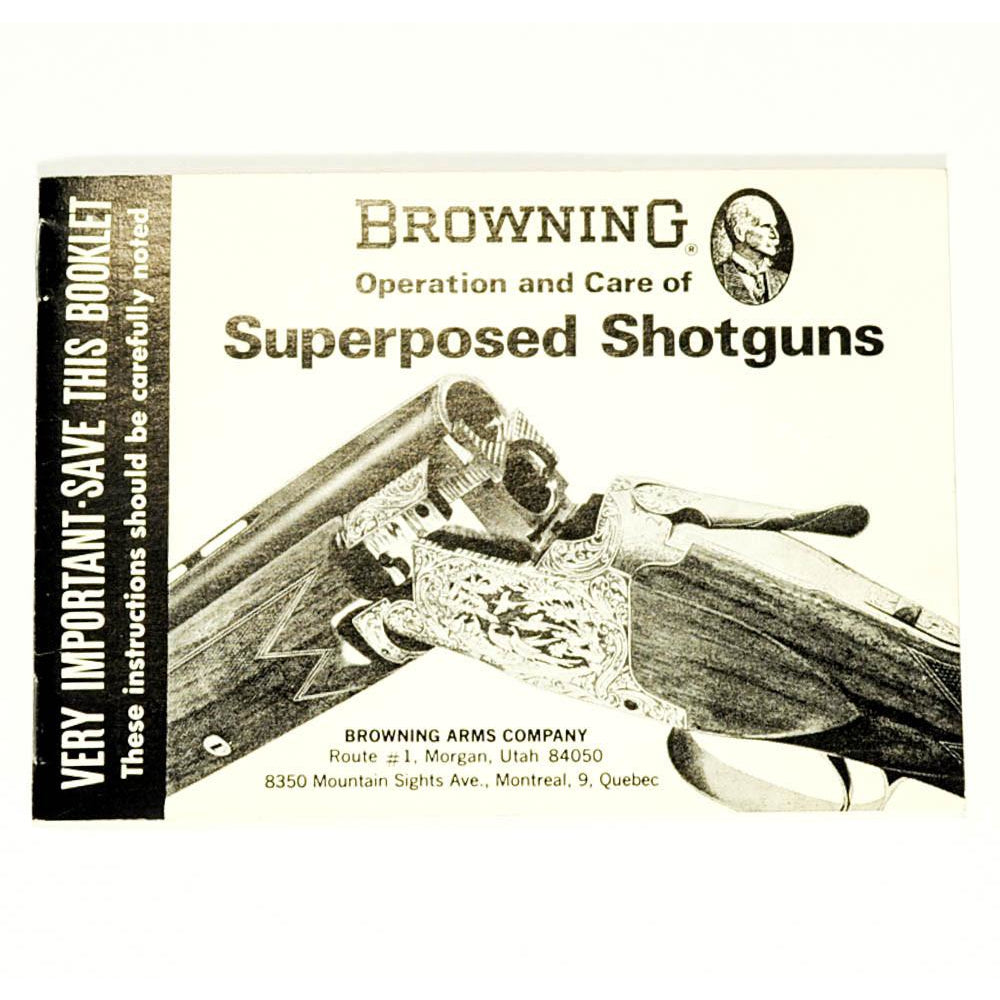 Browning Superposed Shotgun Handbook,Firearm Manuals- Canada Brass