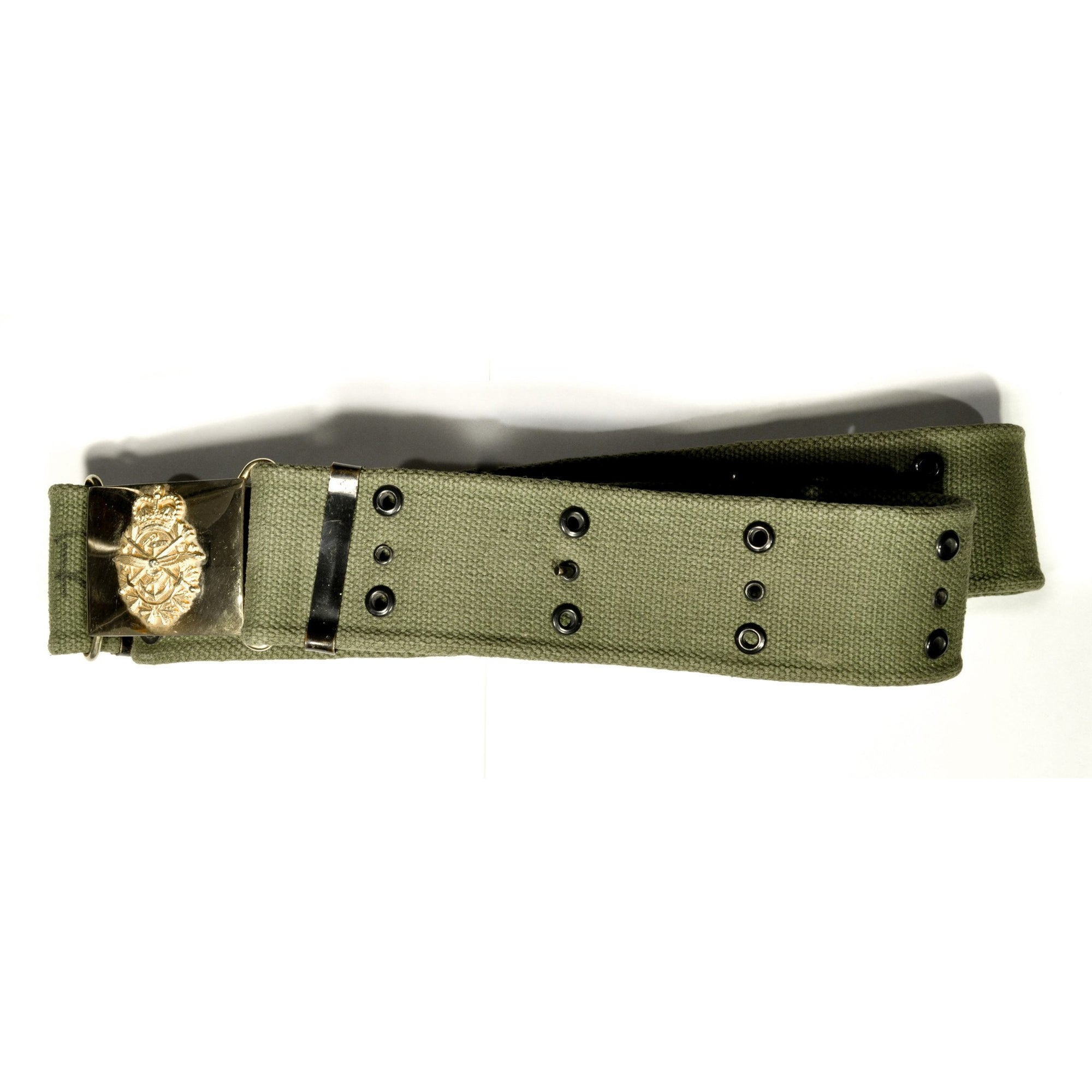 Green Web Belt with Canadian Military Belt Buckle,Collectables- Canada Brass