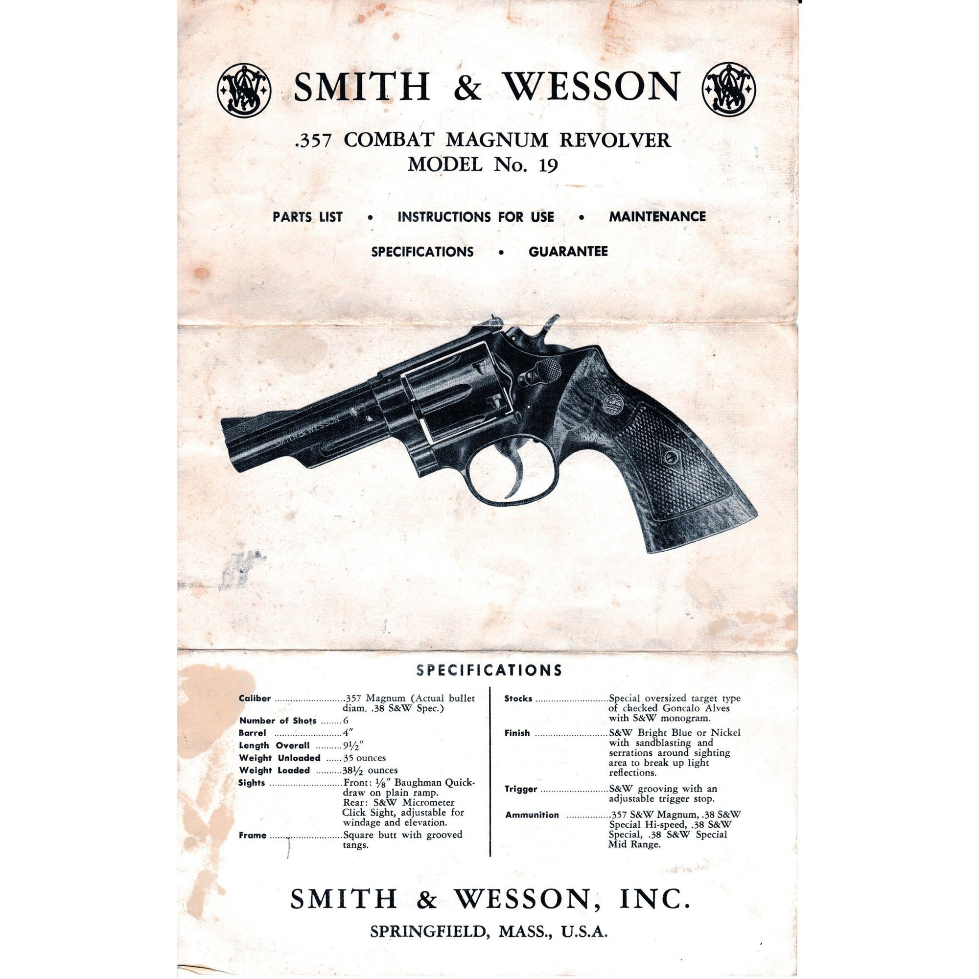 Smith & Wesson Model No 19 Instruction Pamphlet,Firearm Manuals- Canada Brass