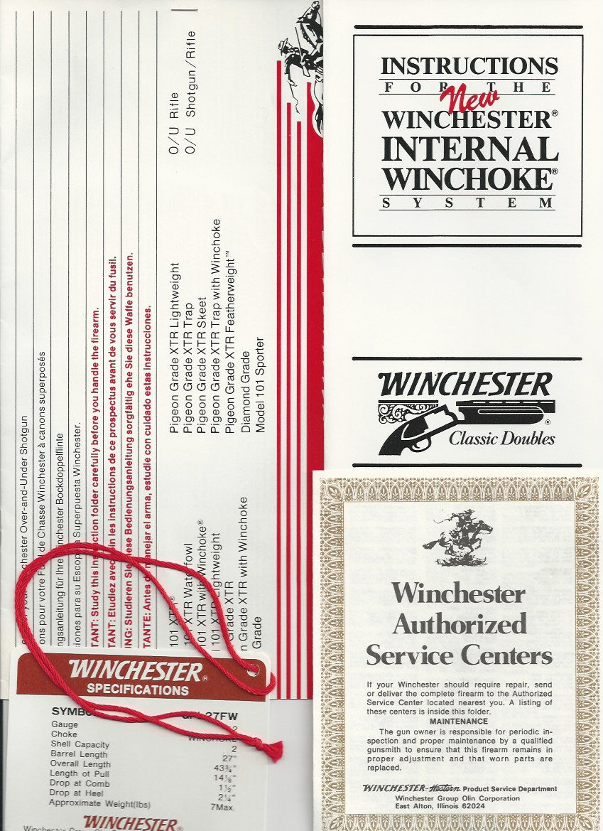 Winchester Model 101 Pigeon or XTR Choke Instructions and Hang Tag