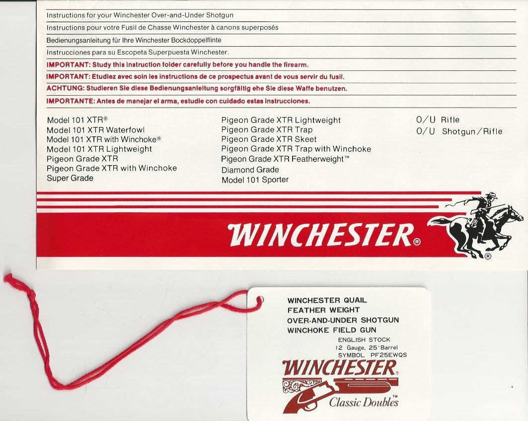 Winchester 101 Pigeon and Quail Instruction Manual and Tags