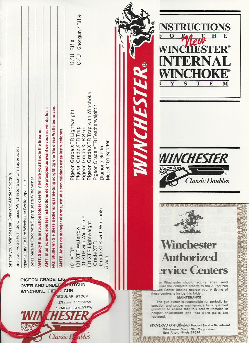 Winchester 101 Pigeon, XTR Field Gun Manual and Hang Tags