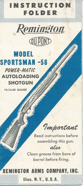 Remington Sportsman 58 Powermatic Shotgun Instruction Folder