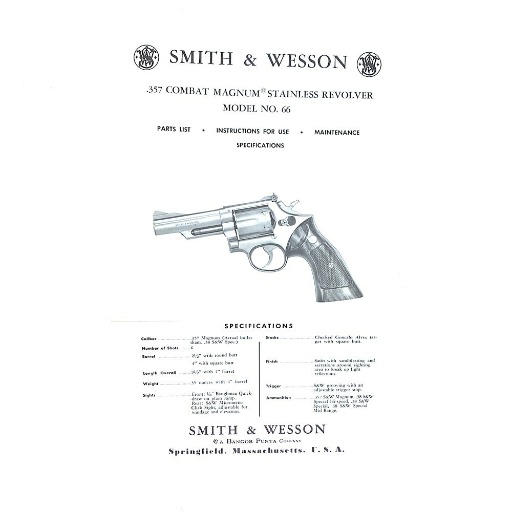 Smith & Wesson Original Model 66 357 Combat Magnum Stainless Steel Revolver Owners Instructions & Parts List 1977