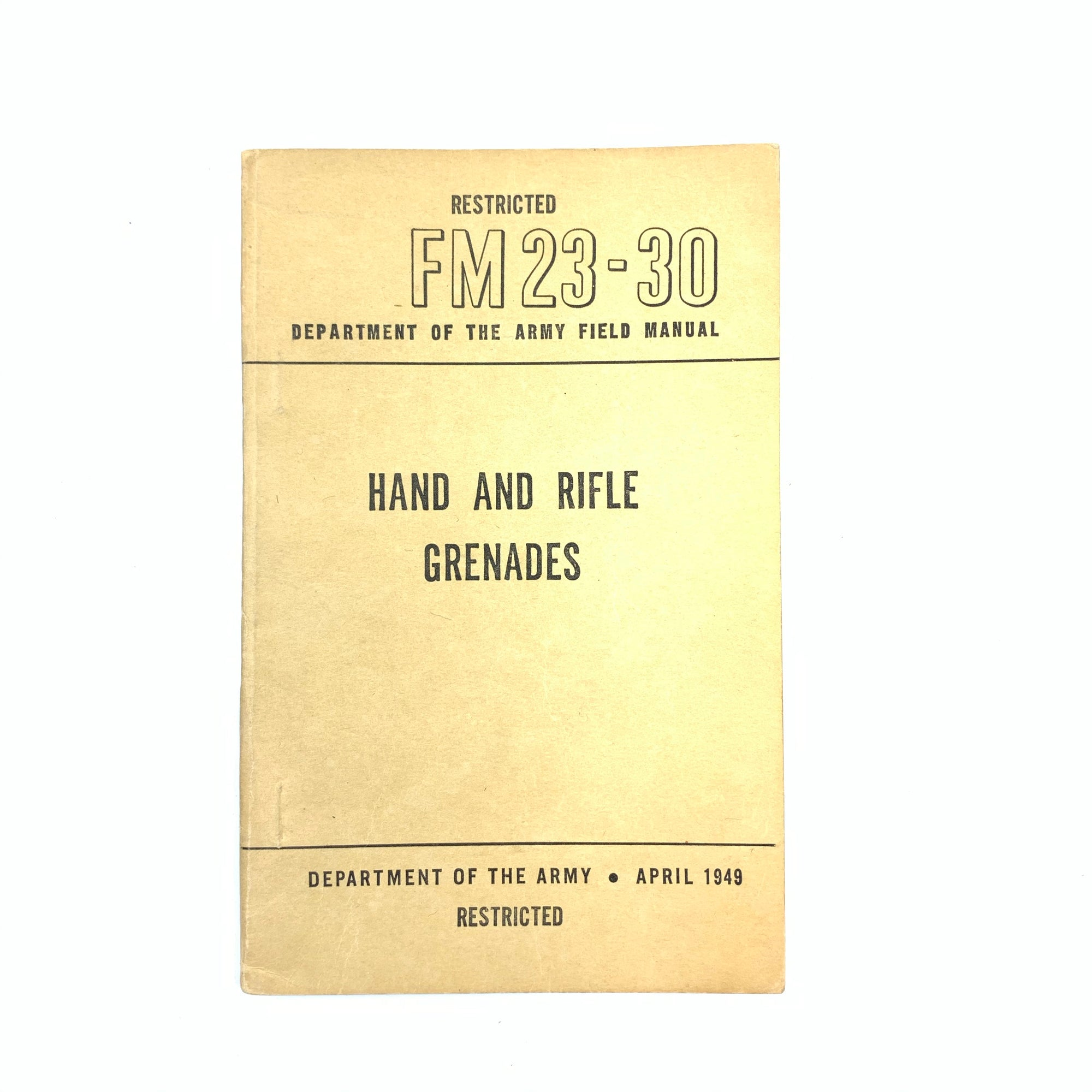 FM 23-30 Dept of the Army US Hand and Rifle Grenades 1949 Small SB Book 116 pgs