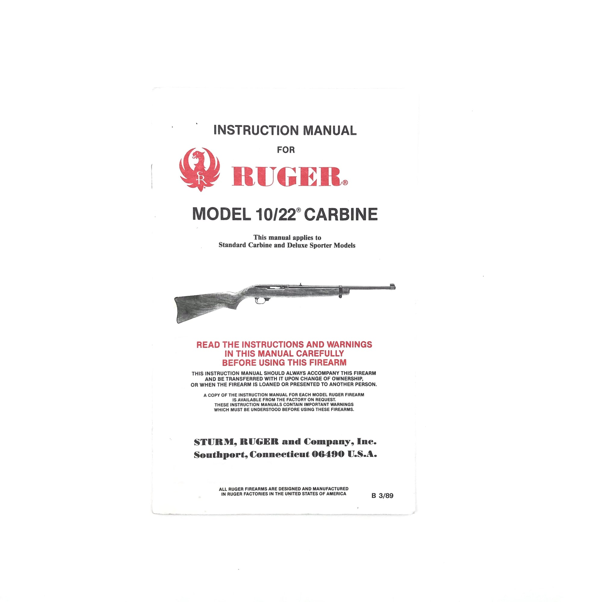 Instruction Manual for Ruger Model 10/22 Carbine