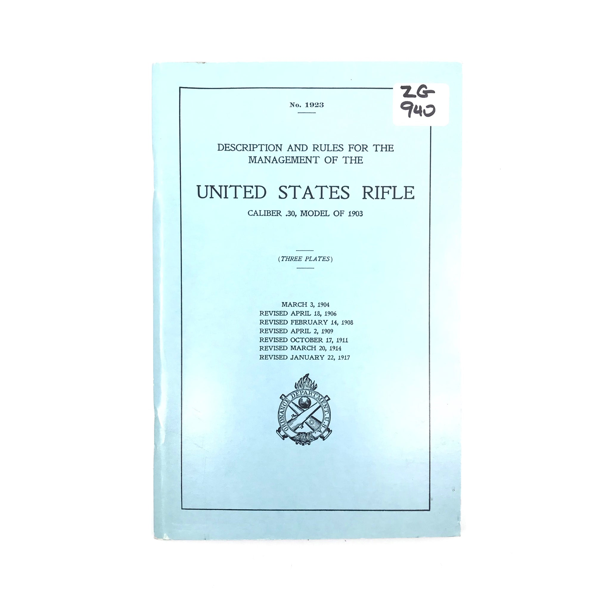 Description And Rules United States Rifle Cal 30 Model of 1903 ODUS SB 80pgs