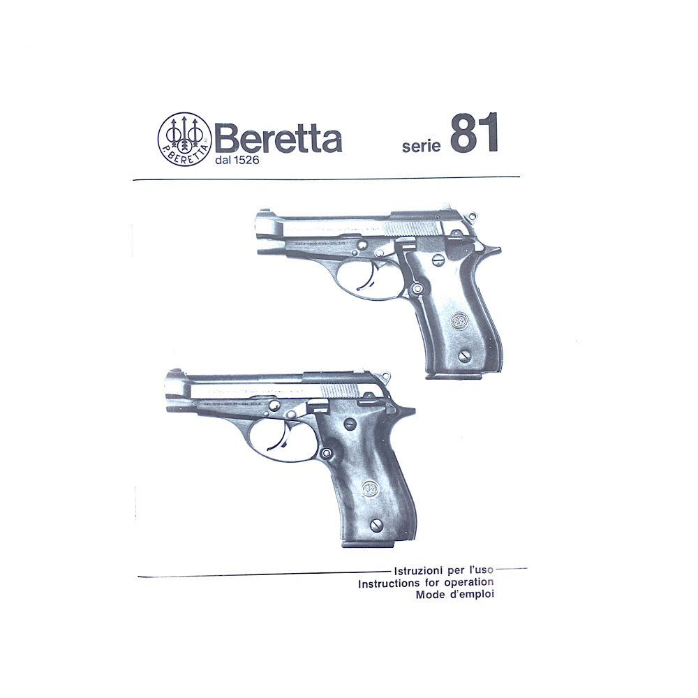 Beretta Series 81 Semi Automatic Pistol Original Owners Manual 1990 3 Languages