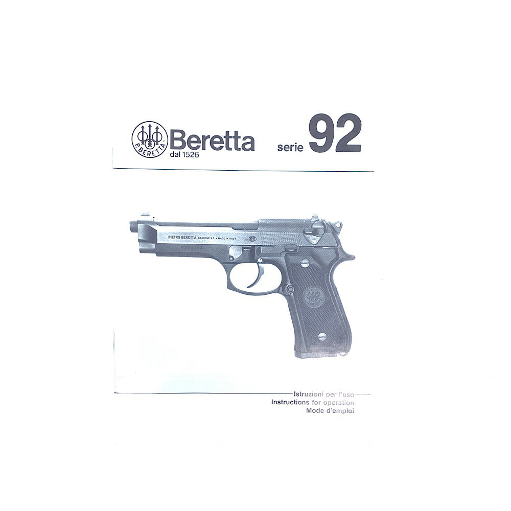 Beretta Series 92 Pistol Owners Manual English French & Italian 32pgs