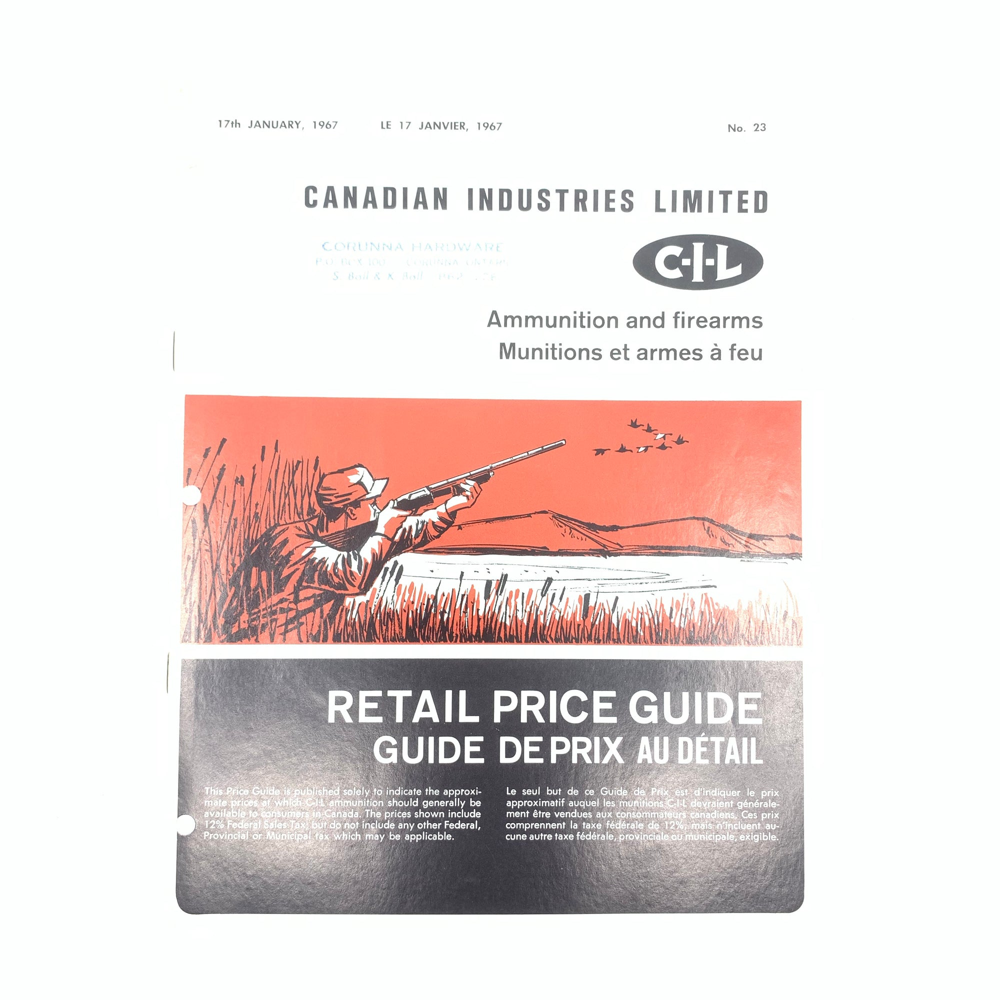 CIL Ammunition and Firearms 1967 SB 12 pages and Price List
