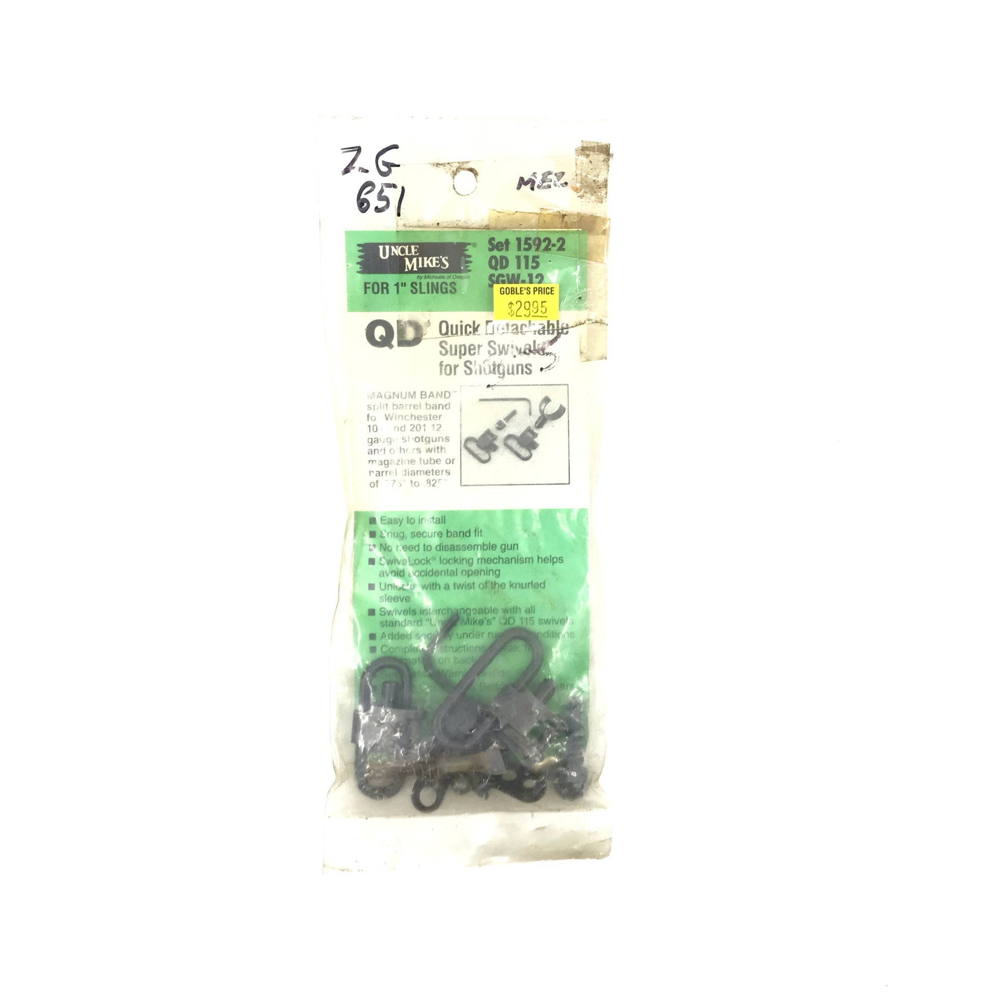 Uncle Mikes QD Swivels 115 1592-2 SGW12 Winchester 101 12GA