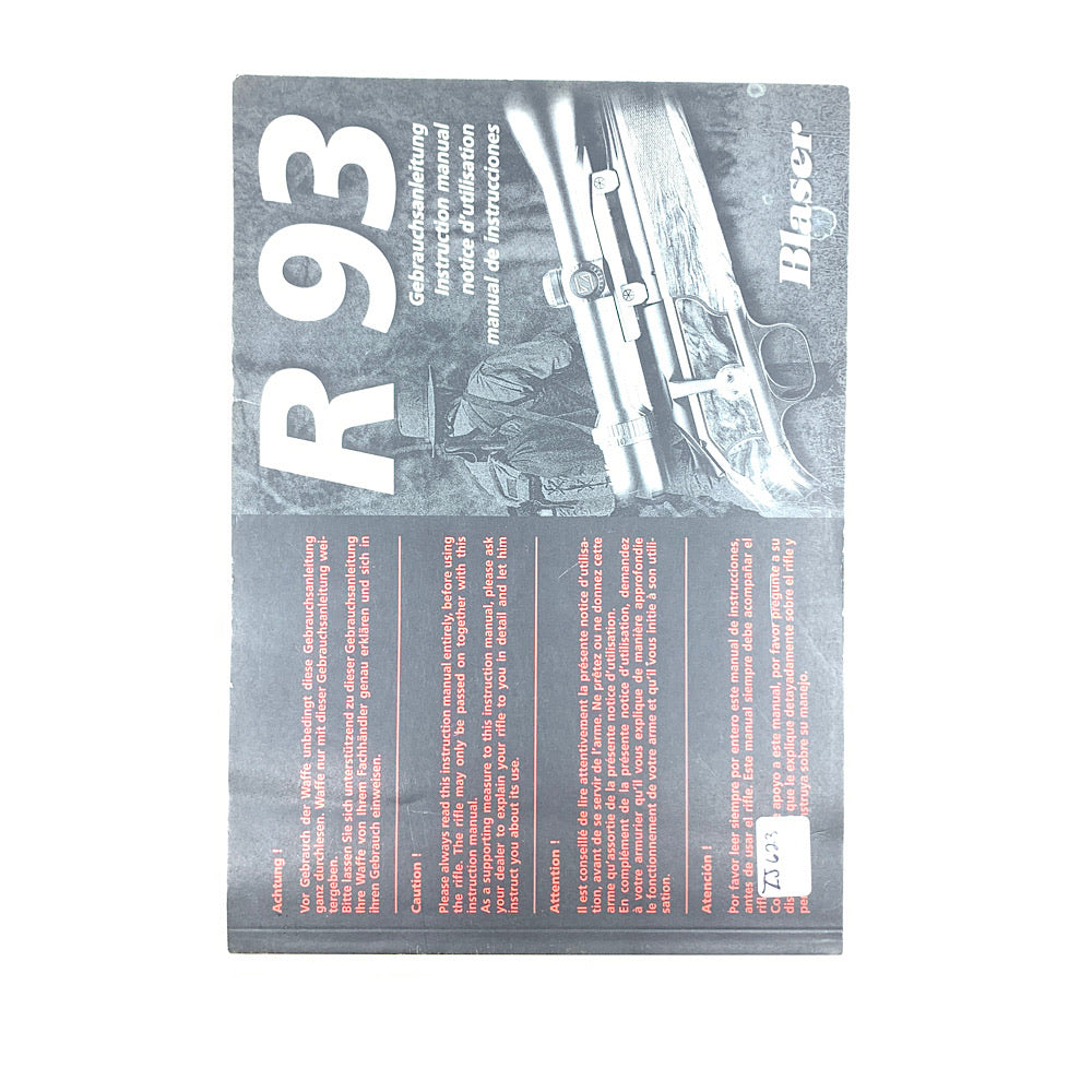 Blaser R 93 Instruction manual