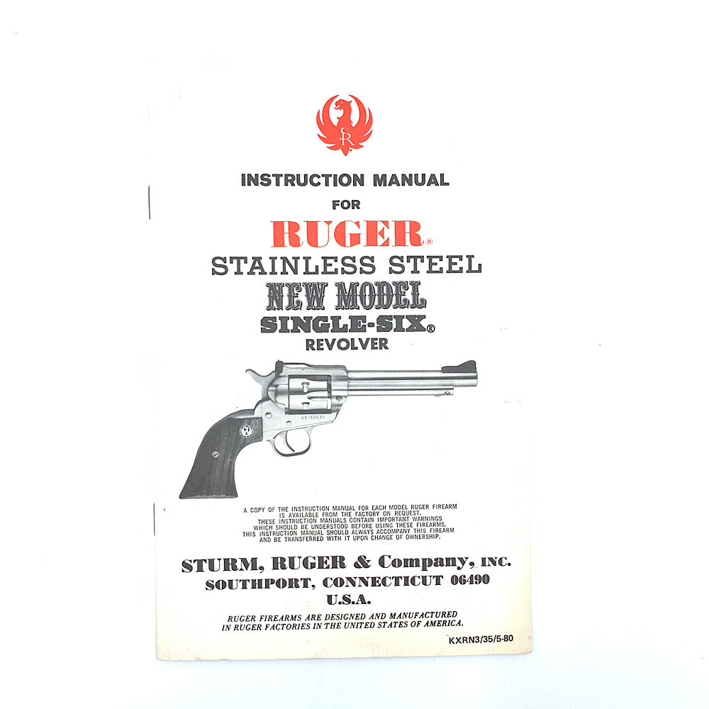 Ruger Original Owners Manual For Ruger Stainless Steel New Model Single Six Revolver 1980