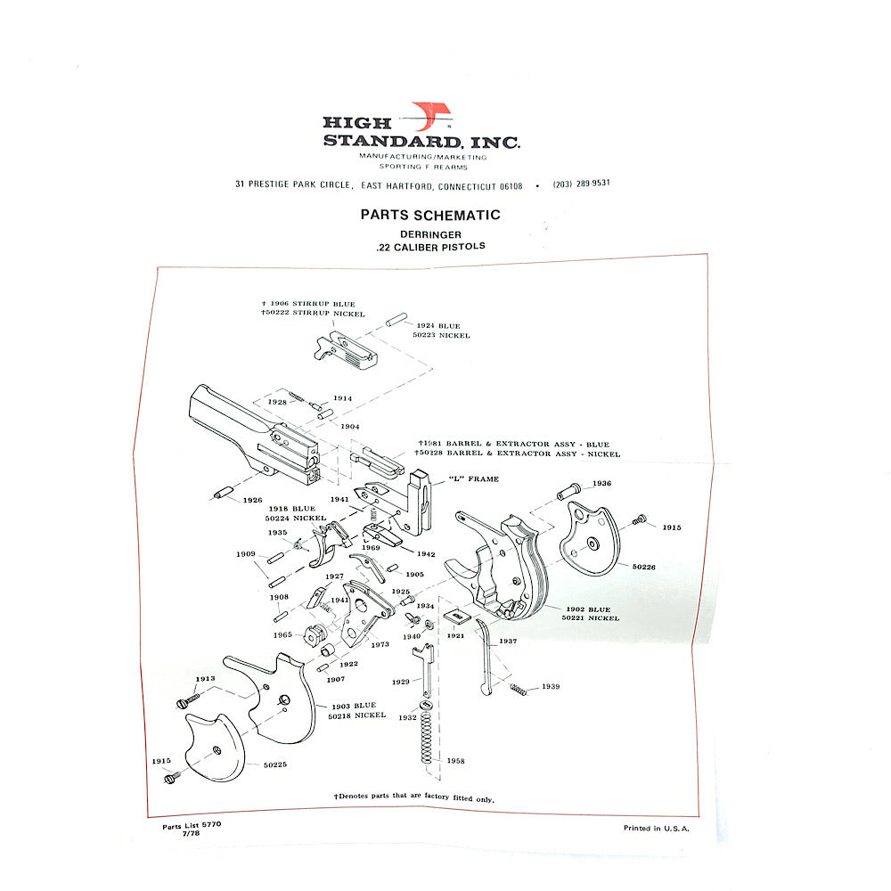 High Standard Deringer Original Parts Schematic