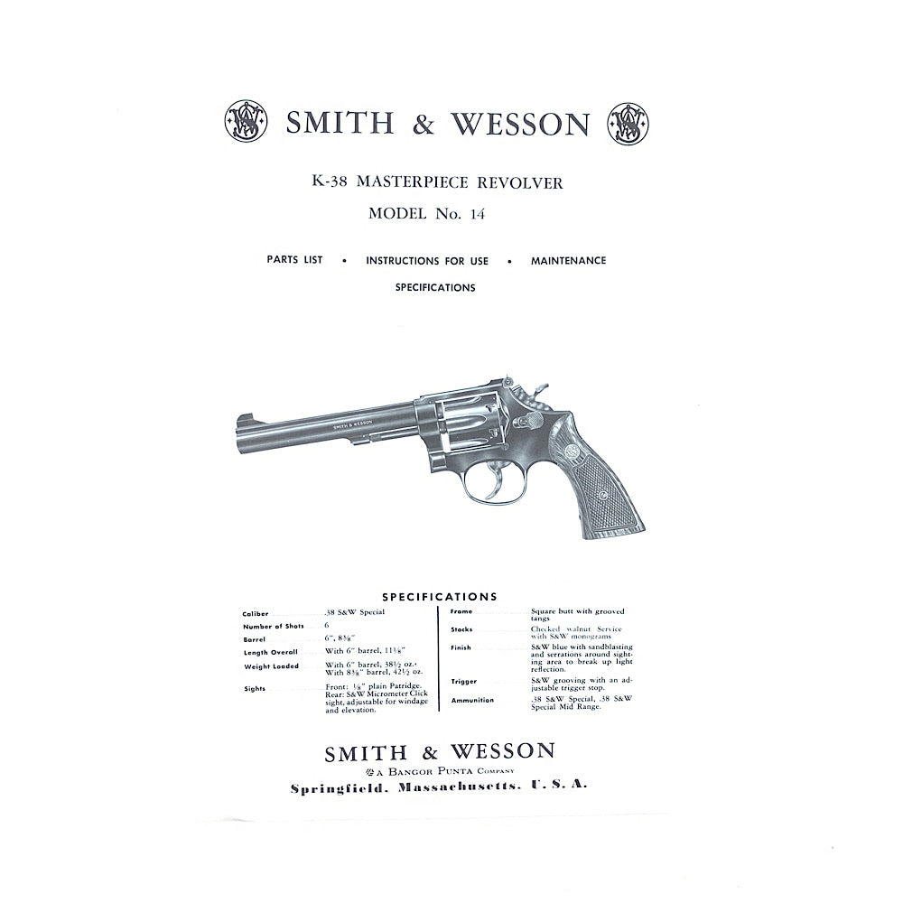 Smith & Wesson Original Model 14 K38 Master Piece Revolver Owners Instruction & Parts List 1970's
