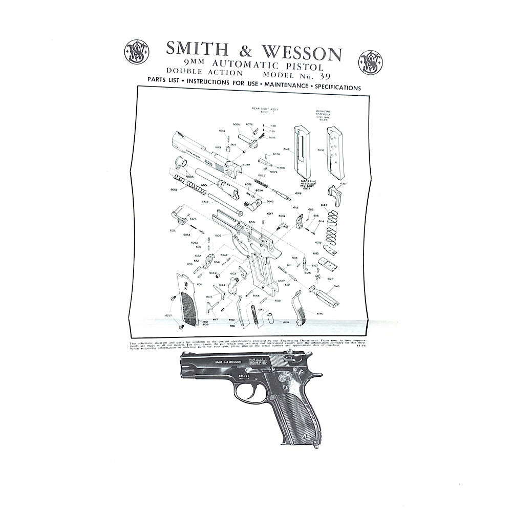 Smith & Wesson Original Model 39 9mm Semi Auto DA Pistol Owners Instructions & Parts List 1970's