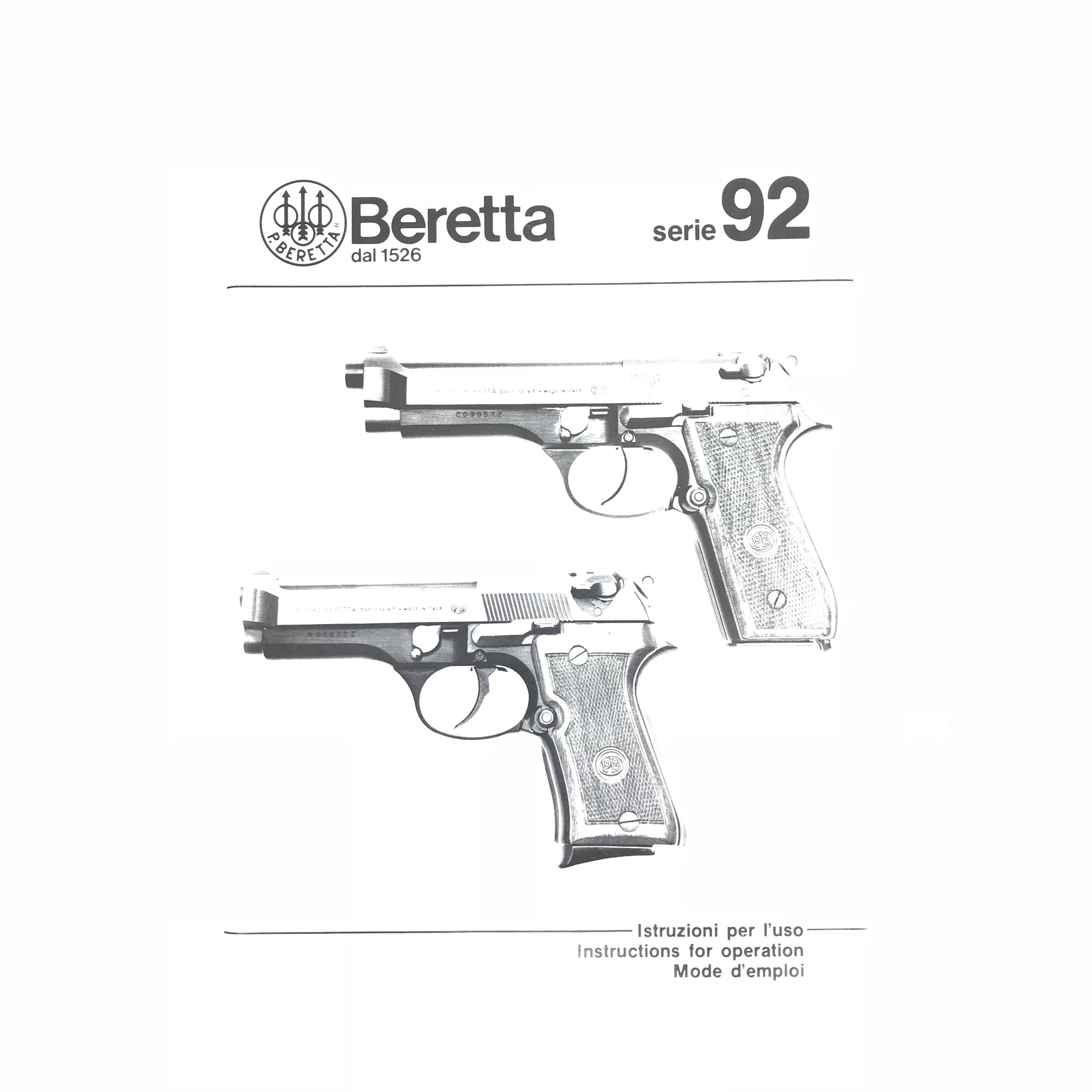 Beretta Series 92 Instructions for Operation,Firearm Manuals- Canada Brass