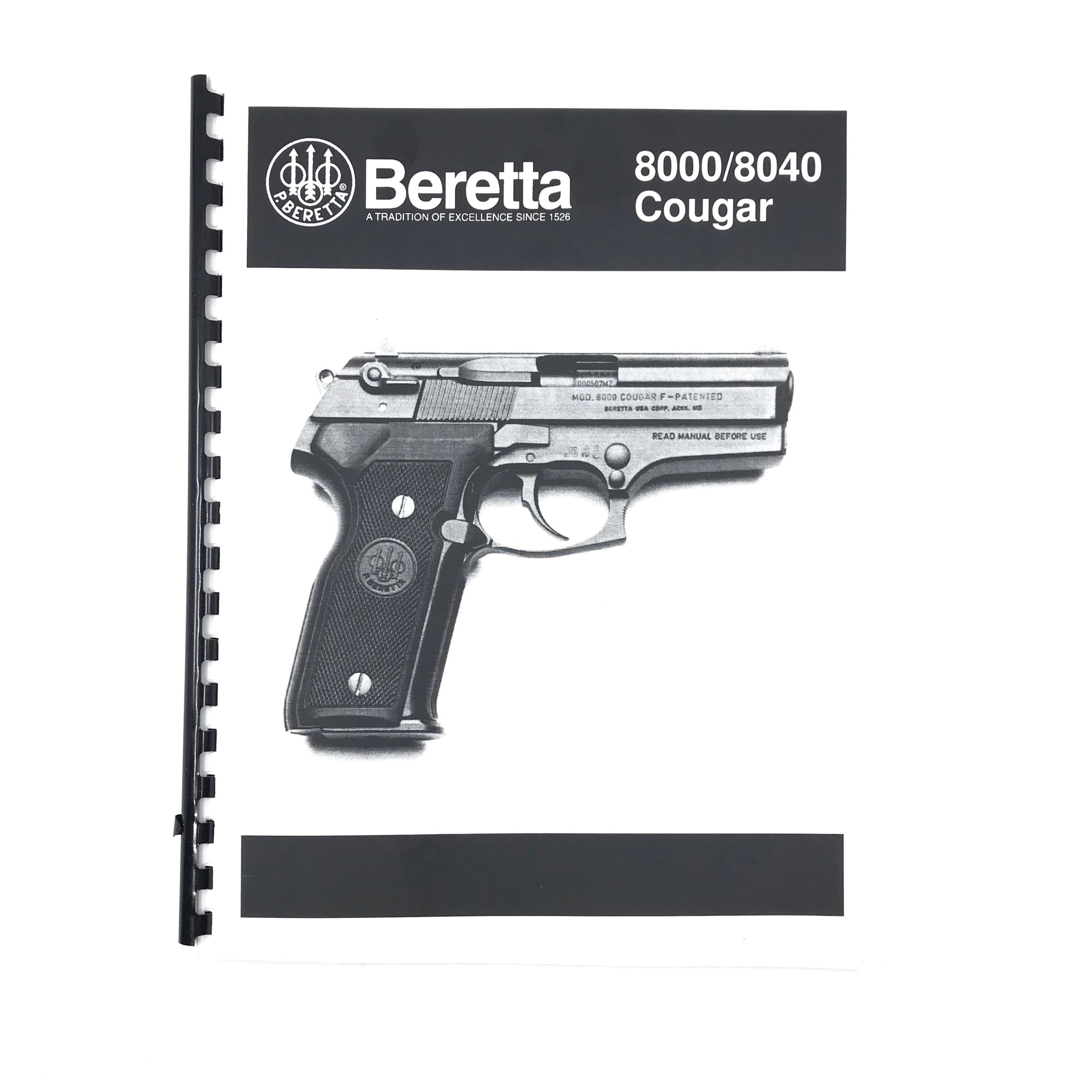 Beretta Model 8000 / 8040 Couger Pistol Armouius Maunual Spiral Bound
