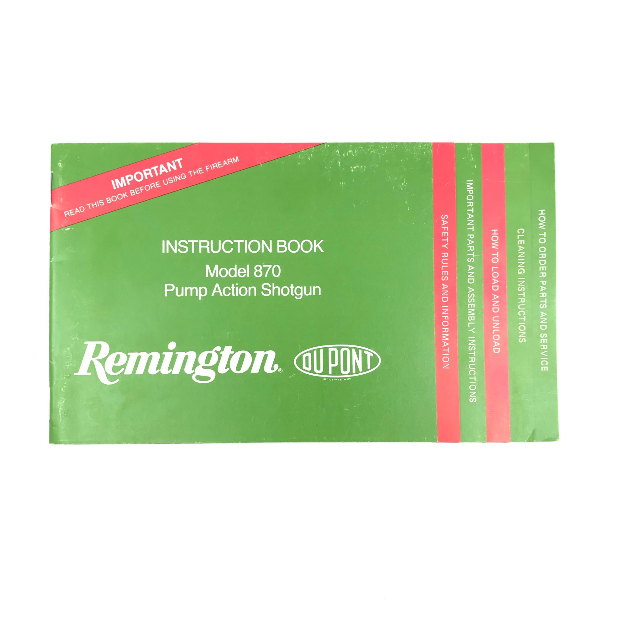 1992 Remington Instruction Book Model 870 Pump Action Shotgun