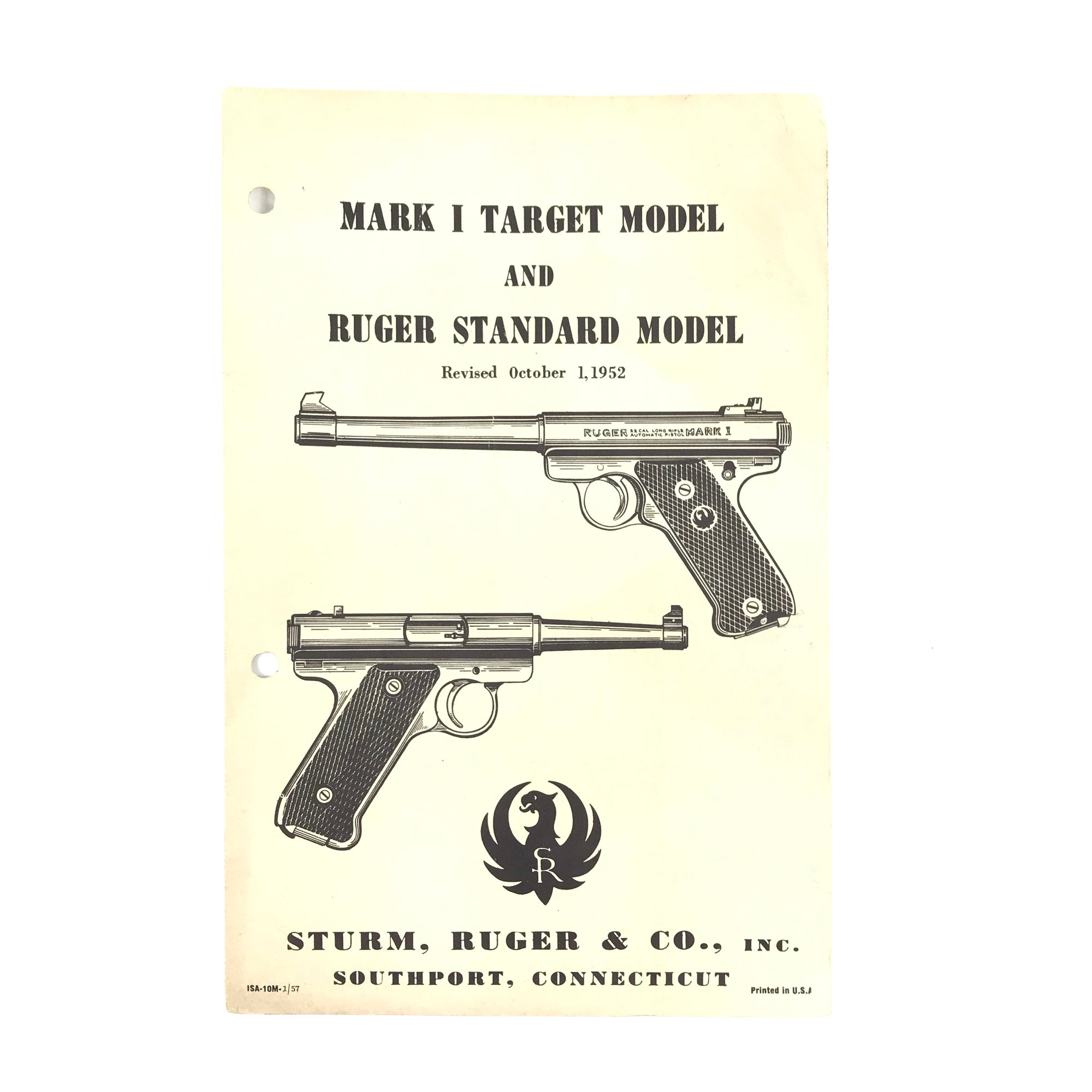 Mark I Target Model & Ruger Standard Model (1952) Instruction Manual