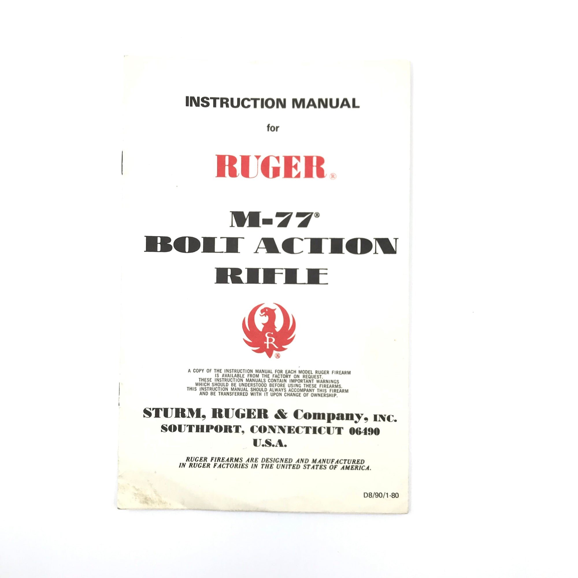 Instruction Manual for Ruger M-77 Bolt Action Rifle