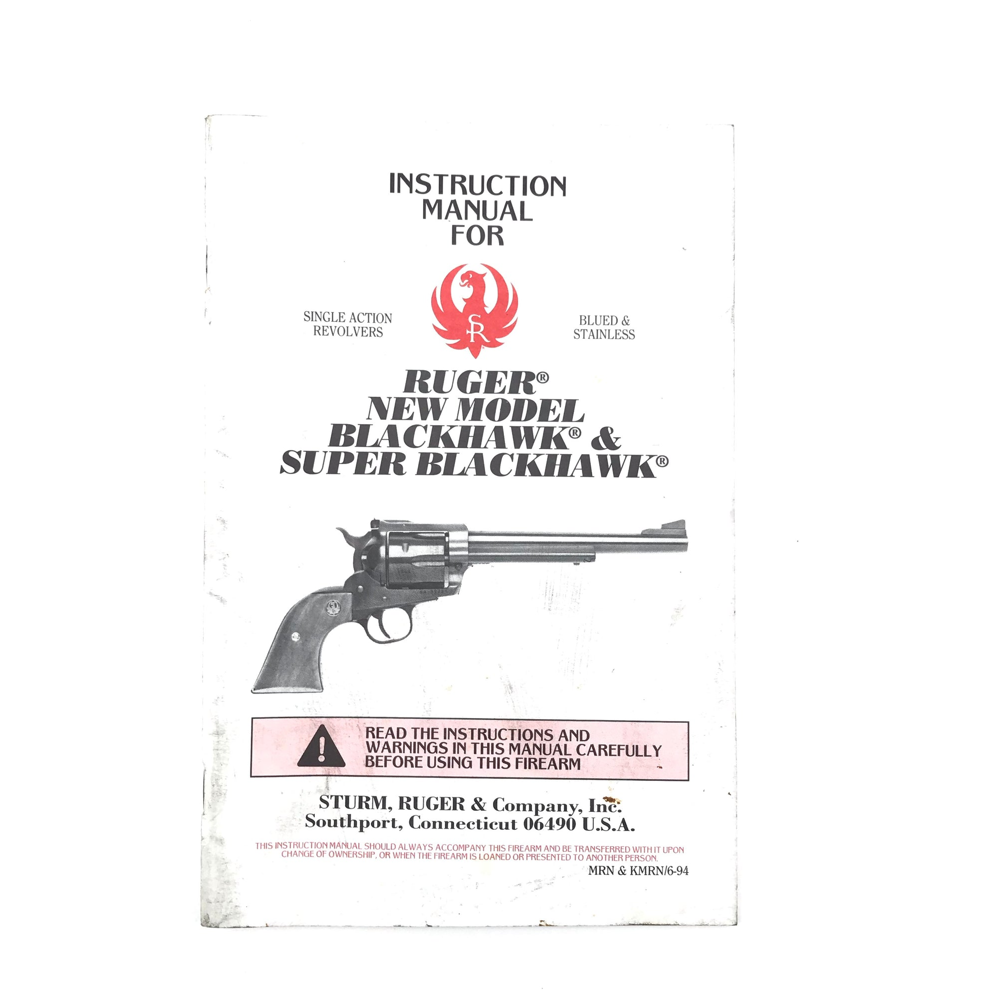 Instruction Manual for Ruger New Model Blackhawk & Super Blackhawk