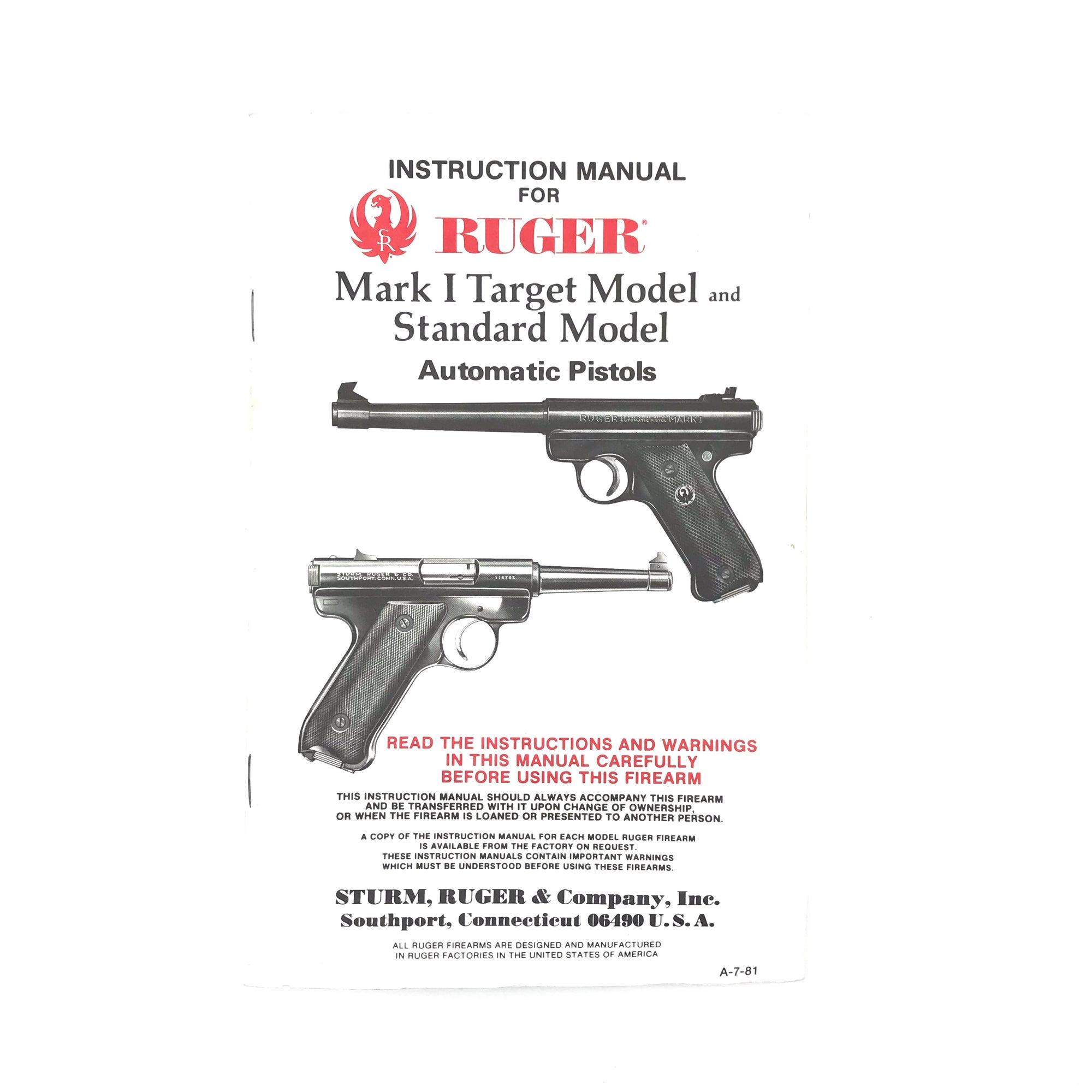 Ruger Instruction Manual Mark I Target Model & Standard Model (1981)