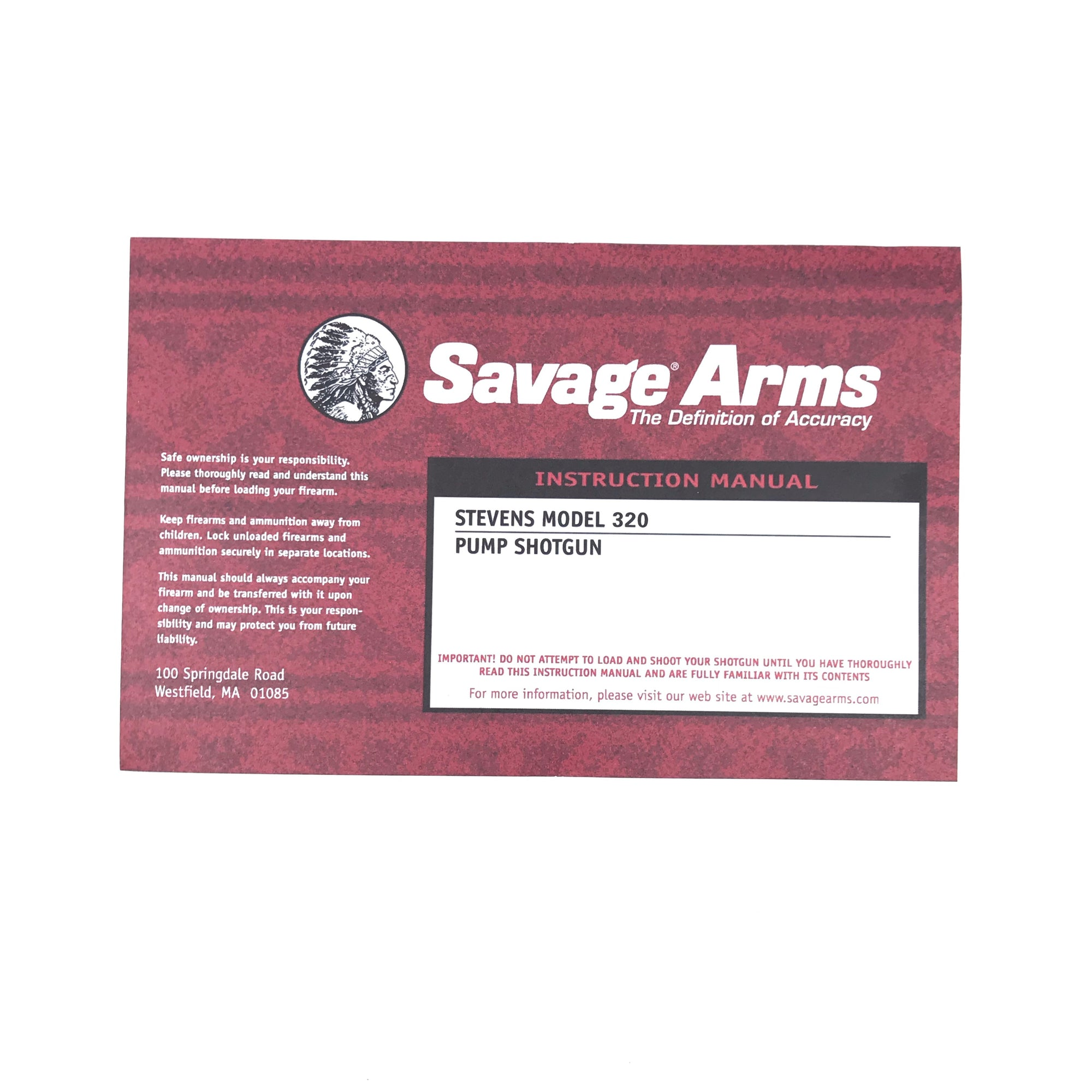 Savage Arms Instruction Manual Stevens Model 320 Pump Shotgun