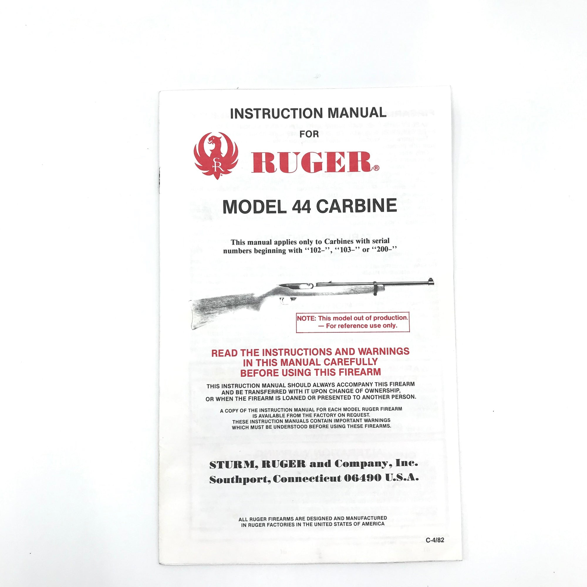 Instruction Manual for Ruger Model 44 Carbine