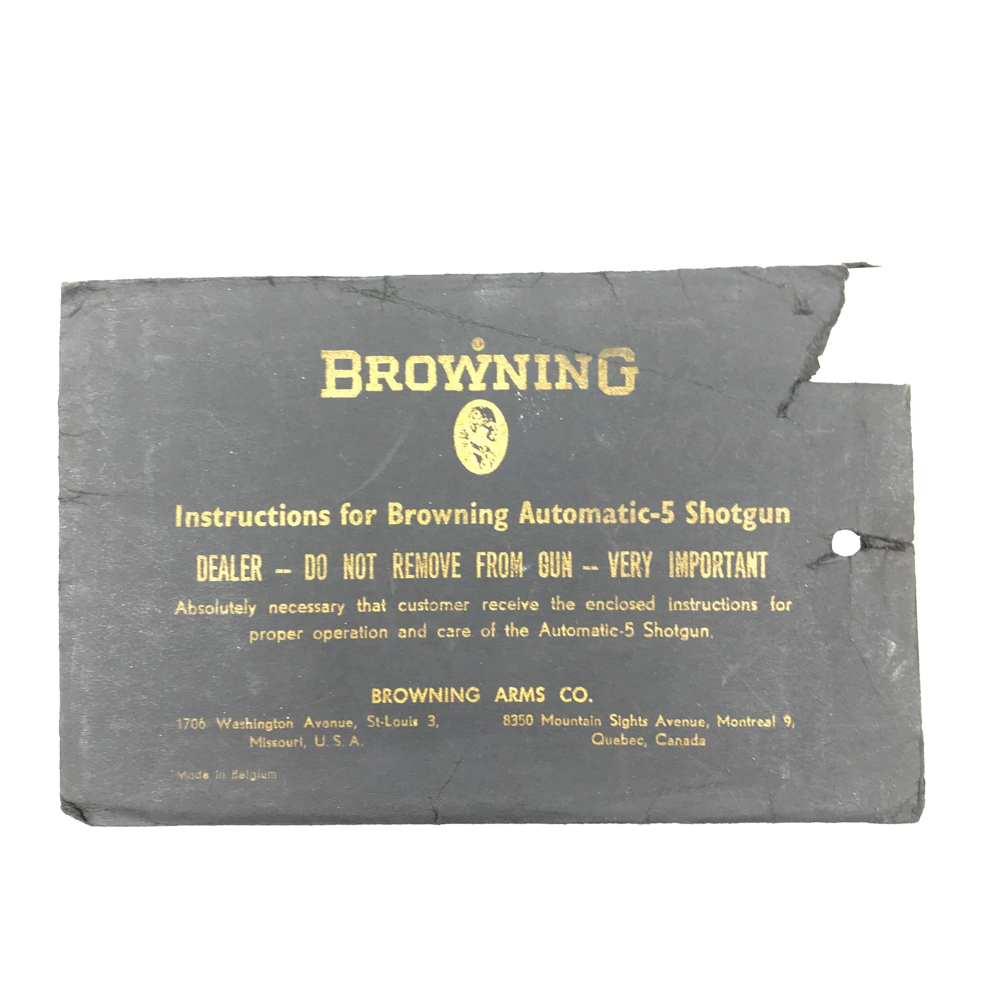 Browning Automatic 5 Shotgun Instructions Booklet