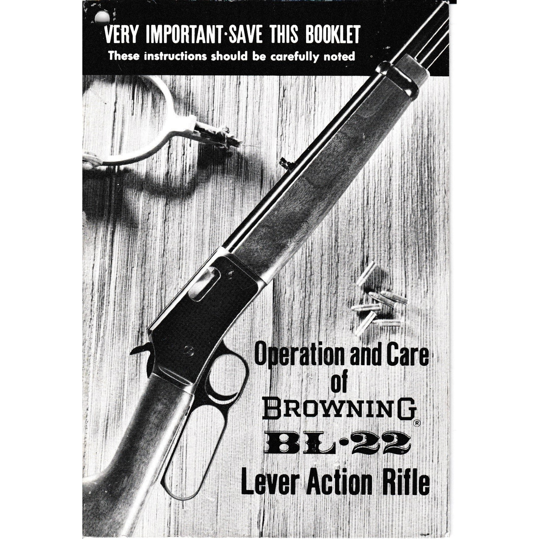 Browning Early BL22 Lever Action Operation and Care Manual,Firearm Manuals- Canada Brass