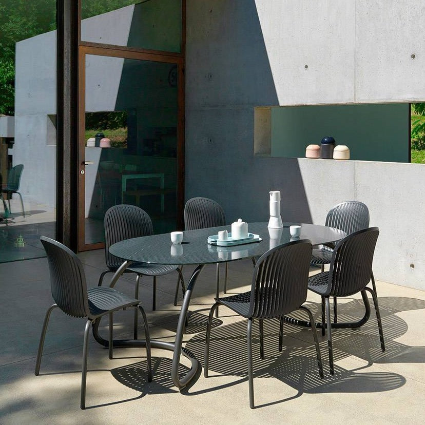 NARDI Loto 6 Seater Outdoor Dining Set with Ninfea Chairs