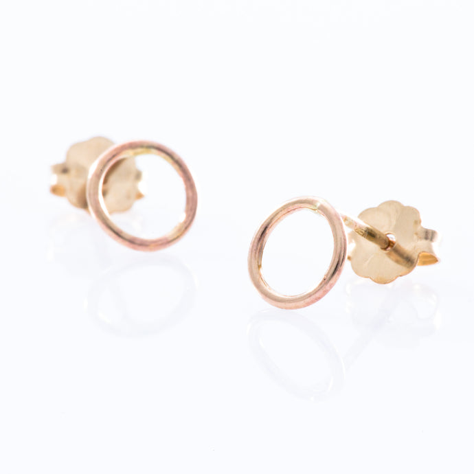 Gold Filled Stud Earrings - Smooth Open Circle
